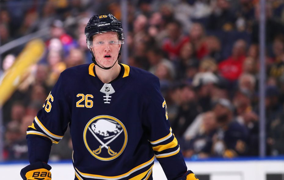 BUFFALO, NY - OCTOBER 25: Rasmus Dahlin #26 of the Buffalo Sabres during the game against the Montreal Canadiens on October 25, 2018 in Buffalo, New York. (Photo by Kevin Hoffman/Getty Images)
