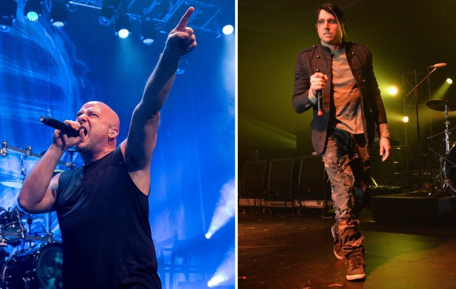 David Michael Draiman, left, of Disturbed and Matt Walst, right, of Three Days Grace will perform on the same KeyBank Center bill.  (Getty Images)