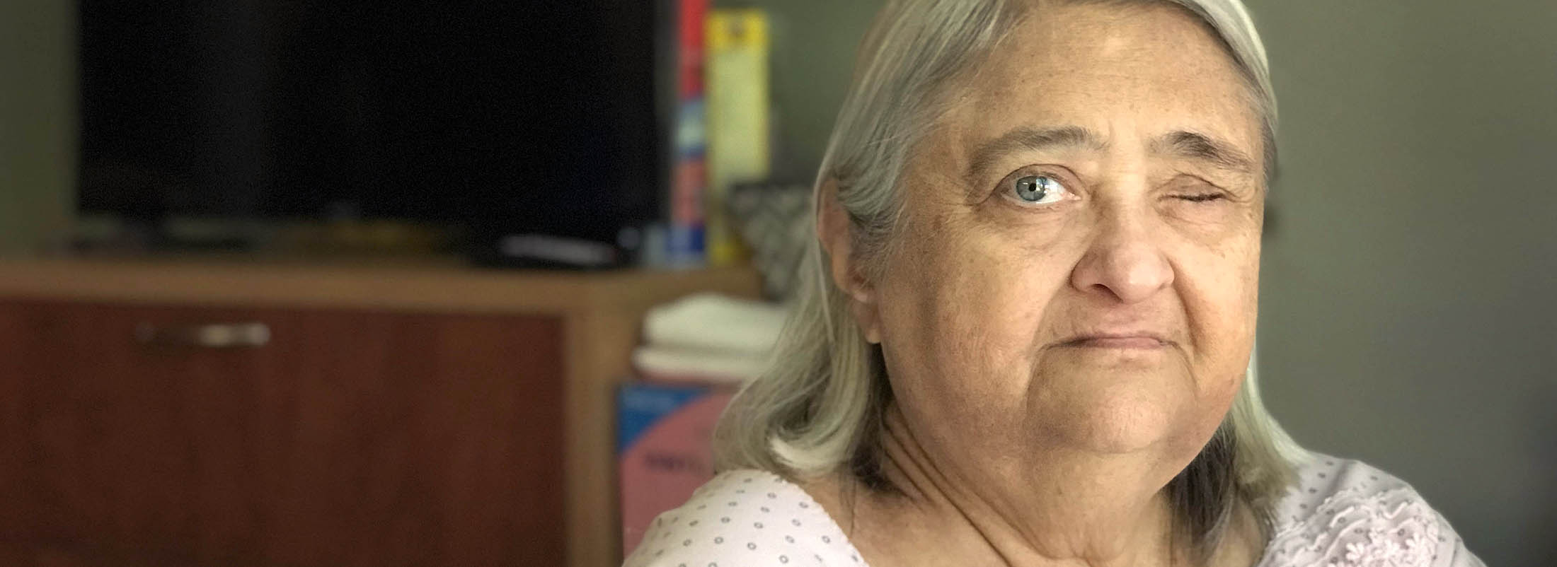 Sally Keller lost her left eye because the nursing home staff at Ellicott Center for Rehabilitation and Nursing failed to properly care for the eye after cataract surgery, according to the New York State Department of Health. (Mark Mulville/Buffalo News)