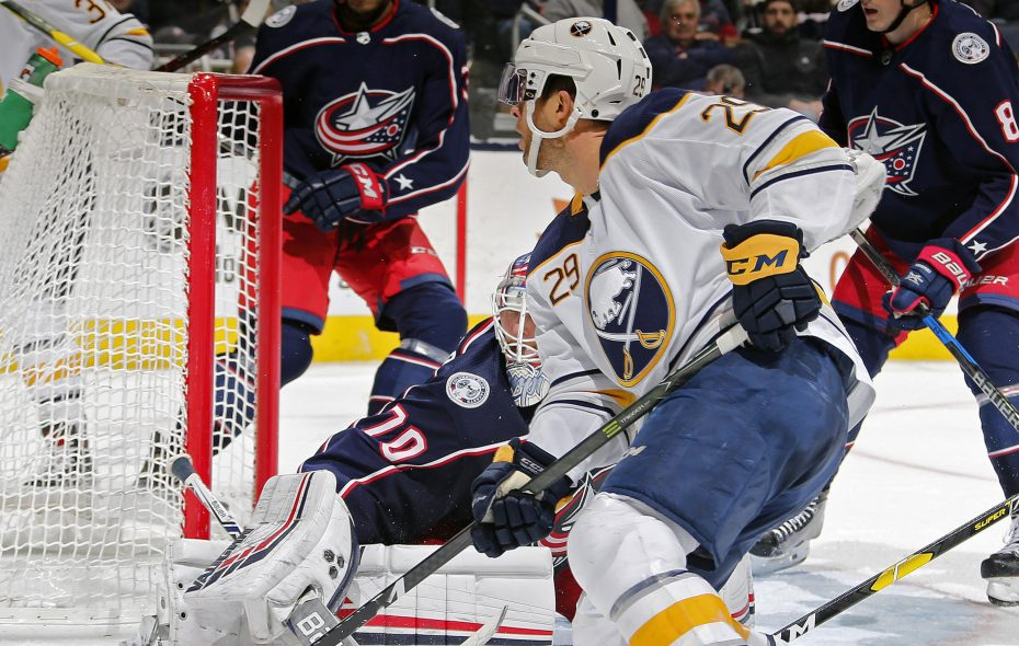 Columbus Blue Jackets goaltender Joonas Korpisalo (70) makes a save against the Buffalo Sabres' Jason Pominville (29) during the second period at Nationwide Arena in Columbus, Ohio  (Kyle Robertson/Columbus Dispatch/TNS)