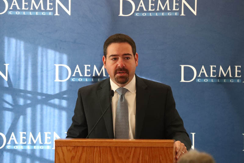 Tonawanda Coke CEO Paul A. Saffrin, shown announcing in 2016 that the Paul A. Saffrin Foundation would donate $1 million to Daemen College. Saffrin  will not say whether he agrees the foundation should pay Tonawanda Coke's cleanup costs if the bankrupt company does not pay them.  (Contributed photo)