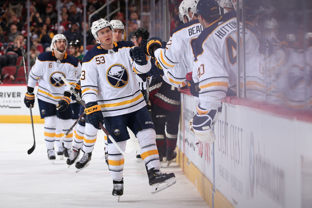 Teammates gave it up to Jeff Skinner for five goals on the Sabres' road trip. (Getty Images)