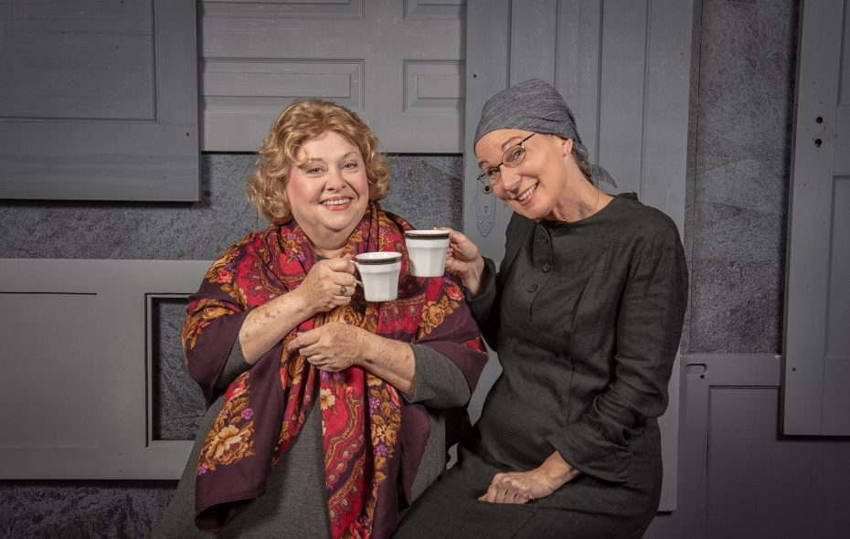 """Mary Kate O'Connell, left, and Lisa Ludwig are charming in """"The Strudel Lady,"""" the first musical presented by Jewish Repertory Theatre. (Matt Weinberg Photography)"""