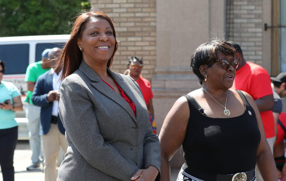 "State attorney general candidate Letitia James, left, came to Buffalo for the Juneteenth Parade, one of her few appearances in the city as she tries to ""hit as many towns as possible."" (James P. McCoy/News file photo)"
