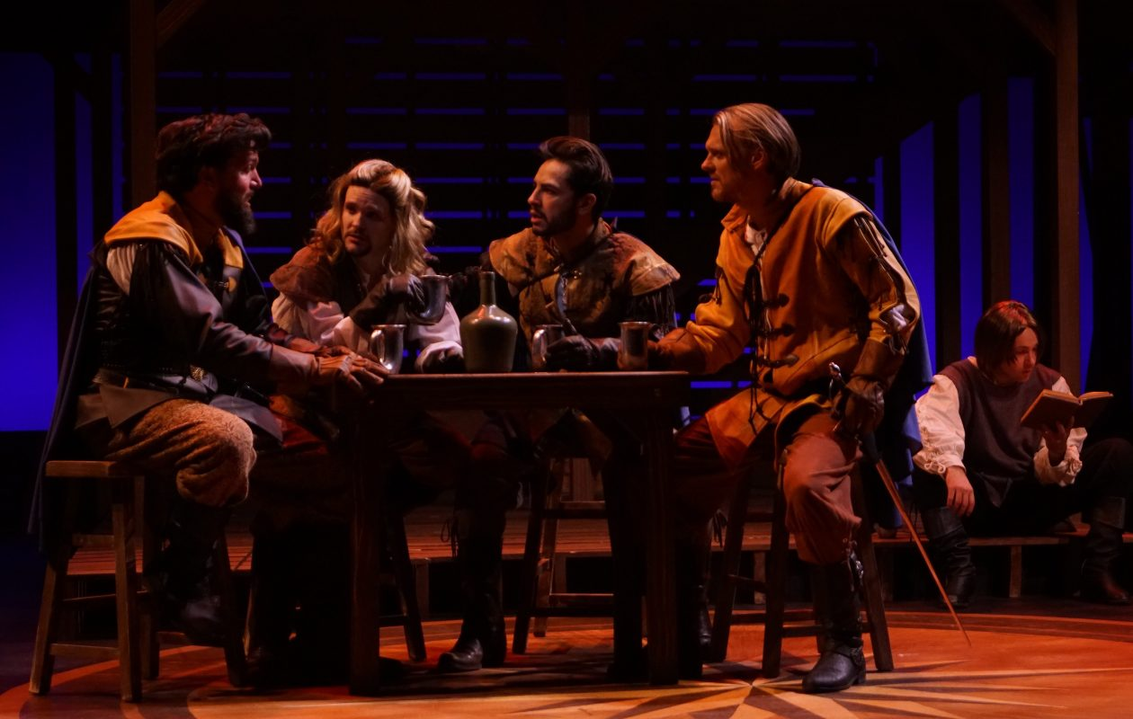 Steve Copps, Patrick Cameron, Anthony Alcocer  and Christopher Avery star in the collaborative stage production of 'The Three Musketeers' at 710 Main. (Photo by Gina Gandolfo)