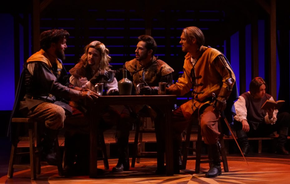 """Steve Copps, Patrick Cameron, Anthony Alcocer  and Christopher Avery star in the collaborative stage production of """"The Three Musketeers"""" at 710 Main. (Photo by Gina Gandolfo)"""