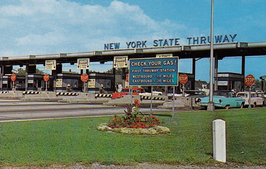 """""""The Buffalo entrance to the Thruway,"""" from a postcard."""