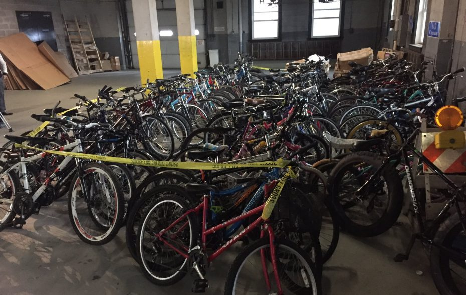 The 88 recovered bikes are currently in Buffalo Police possession at 74 Franklin St. (Keith McShea/Buffalo News)