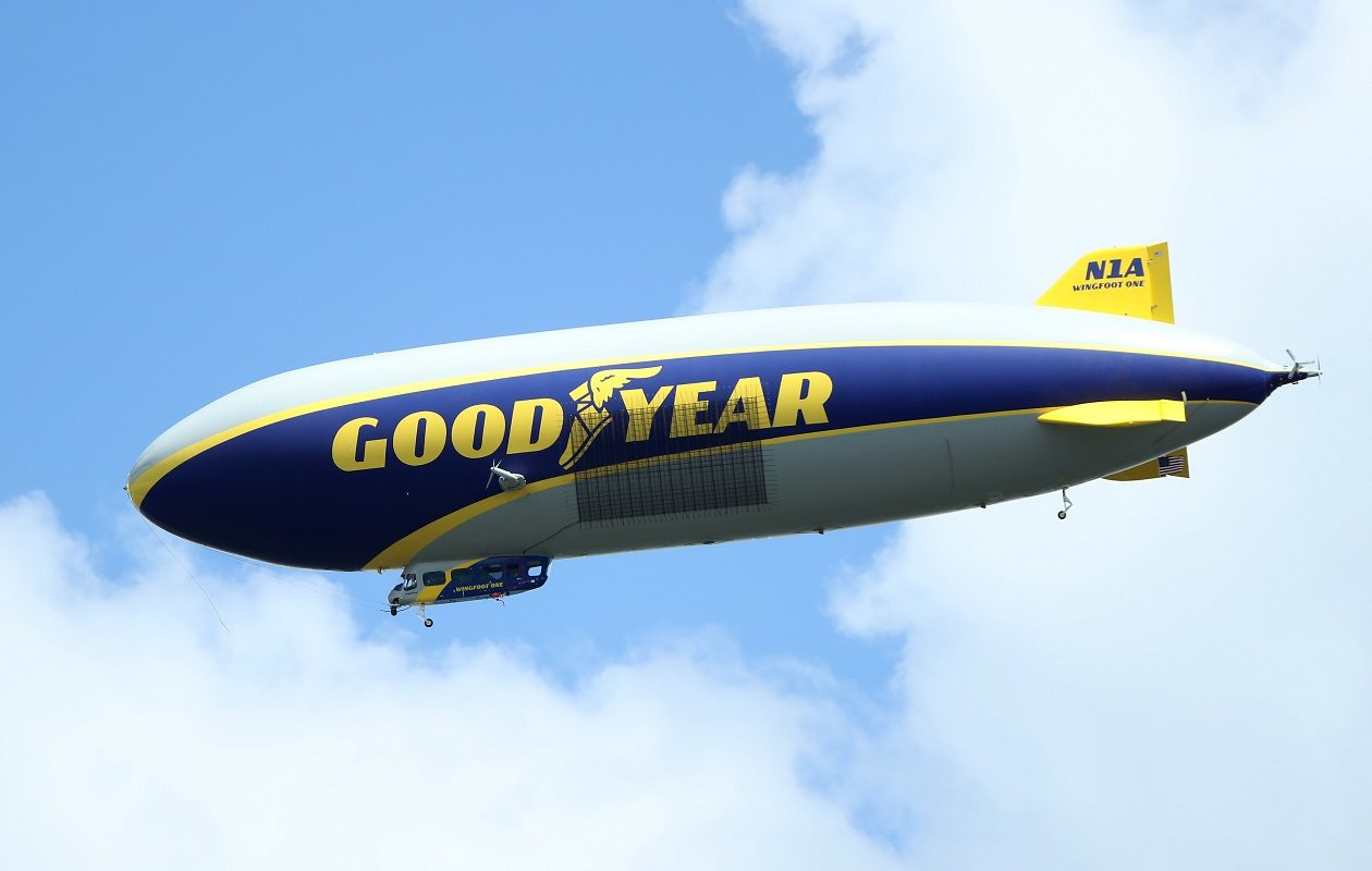 The Goodyear Blimp is seen over the course during the third round of the 2017 PGA Championship at Quail Hollow Club on Aug. 12, 2017, in Charlotte, N.C.. (Getty Images)