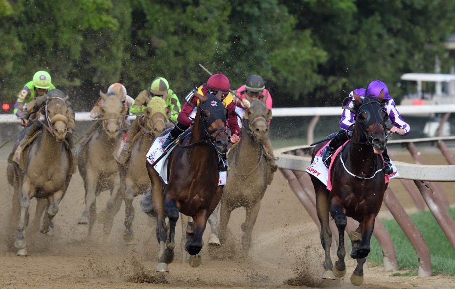 Catholic Boy (outside) and Mendelssohn (inside) head down the lane in the Travers. Photo Credit: Rob Mauhar/NYRA