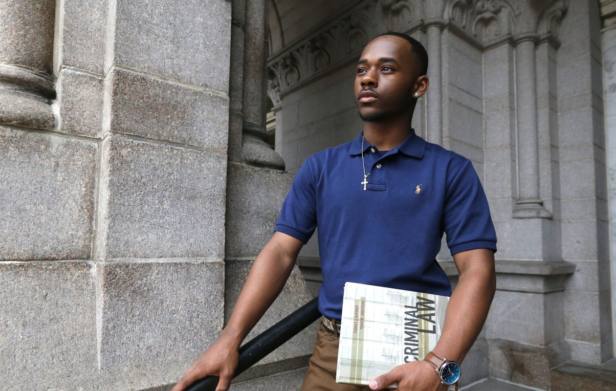 Davoneo Dolson, who  studies criminal justice at Erie Community College in Buffalo, is the recipient of the first annual scholarship named for Craig Lehner, the Buffalo police officer who died during a police dive training accident a year ago this month. (Robert Kirkham/Buffalo News)