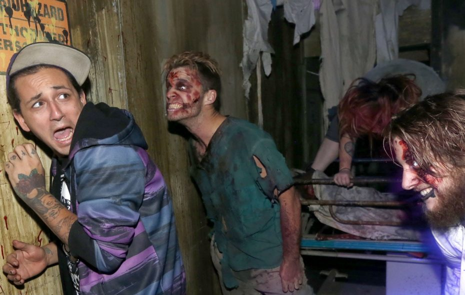 At a haunted house like Frightworld, monsters lurk in the shadows, performing their character through screams and bone-chilling laughs, while paying customers navigate the set, clinging onto each other for dear life, screaming at every turn. (Robert Kirkham/News file photo)