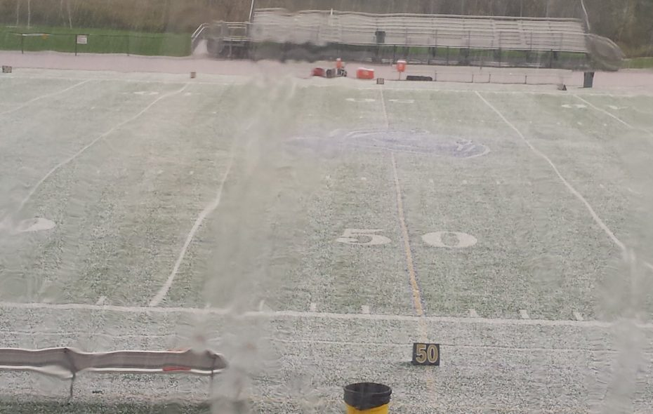 Hail and lightning Saturday afternoon at the Canisius v. St. Francis game in Hamburg leads to a delay. (Miguel Rodriguez/Buffalo News)