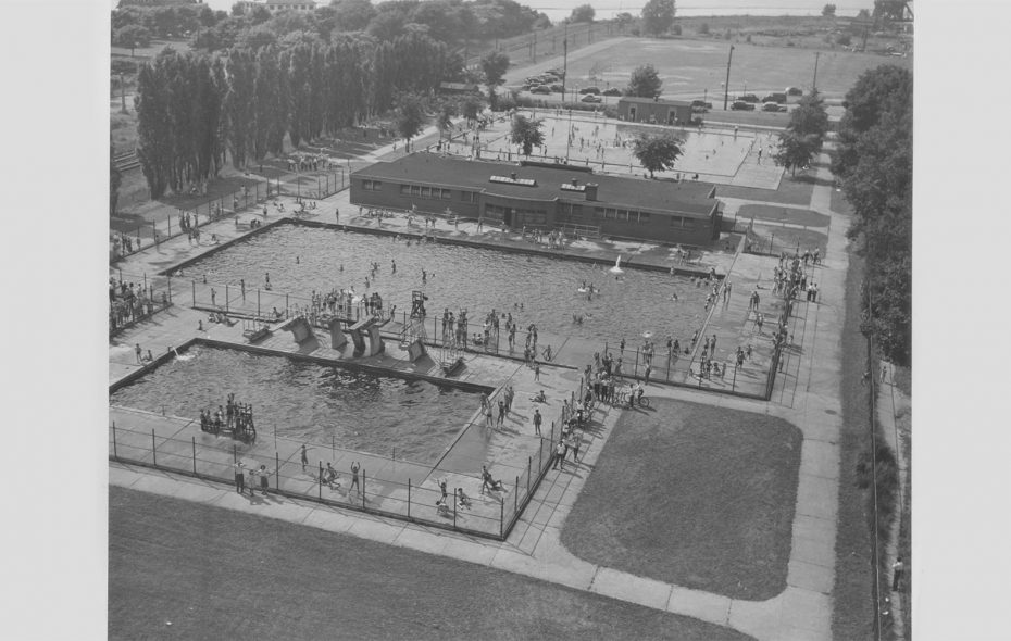 The pools at Centennial Park, now LaSalle Park, pictured in July 1946. (Buffalo News archives)