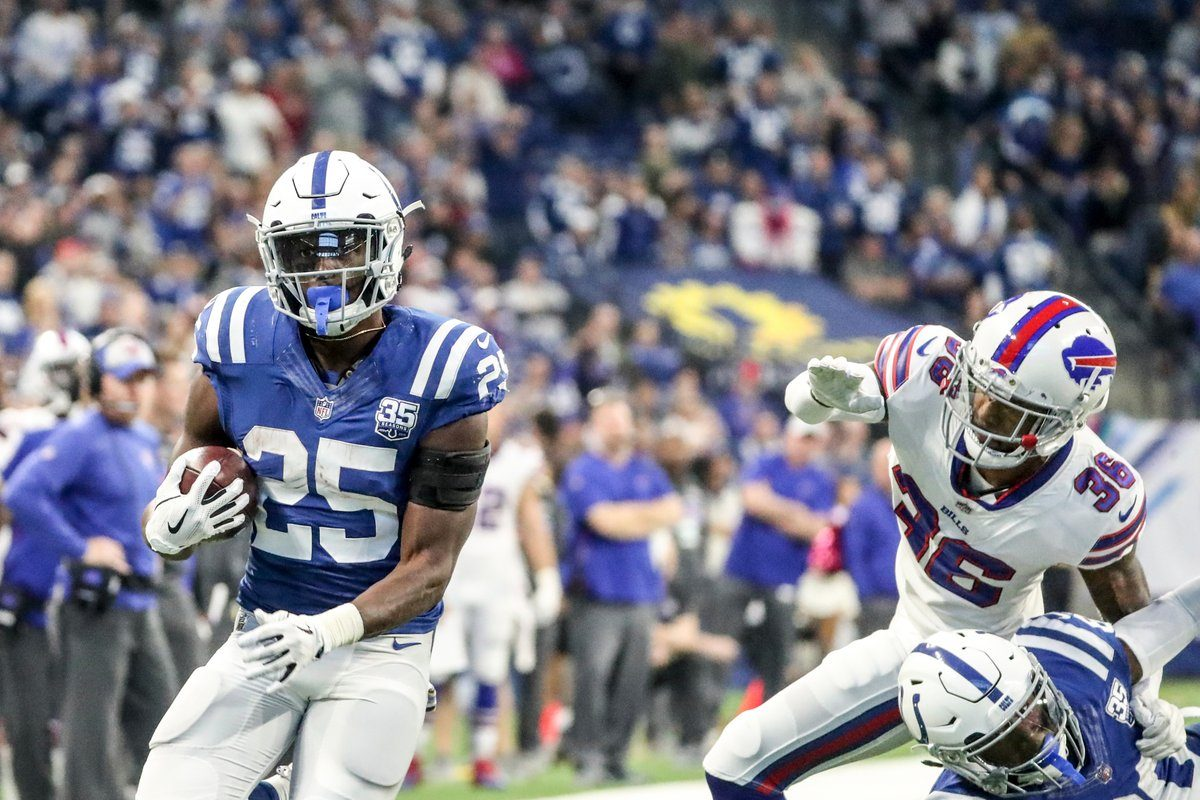 Marlon Mack and the Indianapolis Colts ran all over the Buffalo Bills on Sunday. (James P. McCoy/Buffalo News)