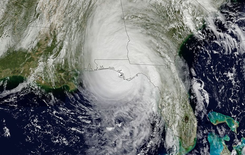 Hurricane Michael makes landfall near Mexico Beach, Fla., on Oct. 10. (NASA Earth Observatory images by Joshua Stevens, using data from GOES-16)