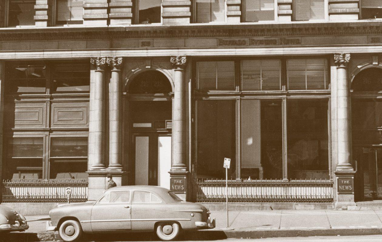 The Buffalo Evening News Building, Main Street, 1940s.