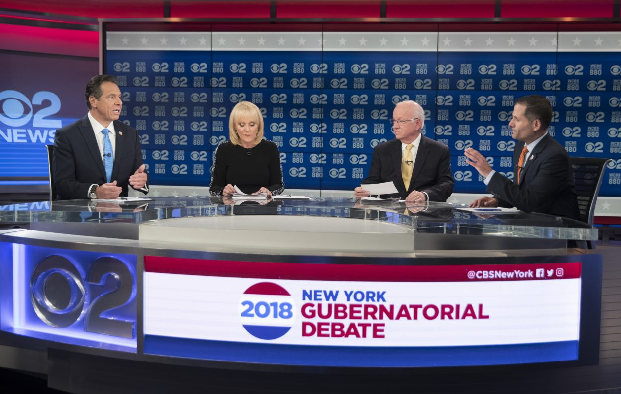 New York Gov. Andrew Cuomo, left, and Republican gubernatorial candidate Marc Molinaro, right, argue last week during the only New York gubernatorial debate this fall. (AP Photo/Mary Altaffer, Pool)