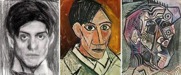 Pable Picasso self-portraits at ages 18, 25 and 90.