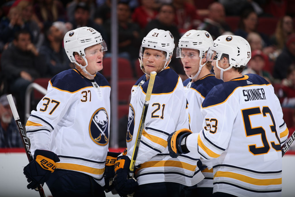 The Sabres shifted lines, defense pairs and power-play combinations on Friday and the likes of, from left, Casey Mittelstadt, Kyle Okposo, Casey Nelson and Jeff Skinner contributed in a weekend sweep (Getty Images).