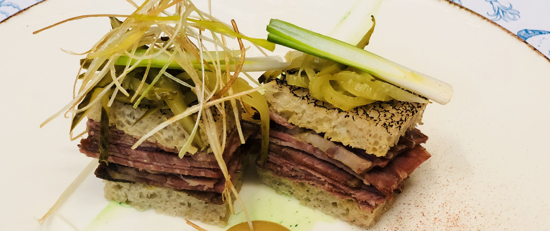 The first appetizer for the Grand Gala and Ball Polonaise on Oct. 27 is Polish-style beef brisket with apple mustard and mayonnaise flavored with bison grass, from chef Marcin Budynek. (Photo by Tawerna Fisza)