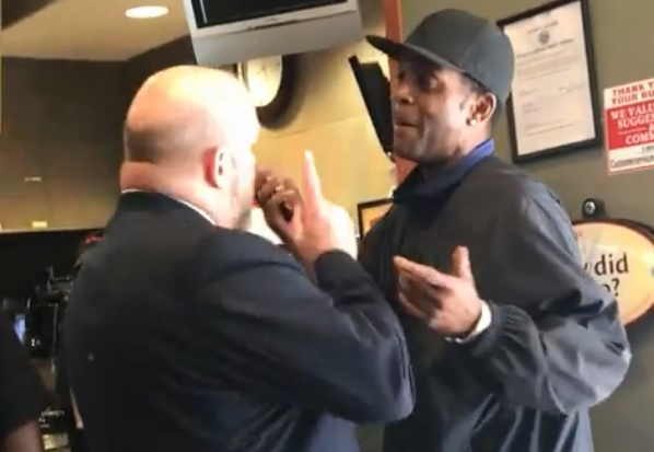 A screenshot from the video of an altercation in July at a downtown Tim Hortons, which is expected to be the subject of a lawsuit.