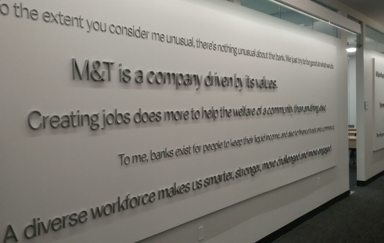 Walls of M&T's renovated training center include quotes from the late Robert Wilmers. (Matt Glynn/Buffalo News)