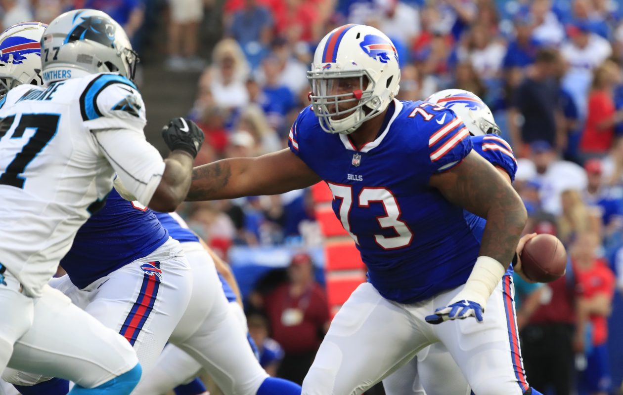 Bills' Dion Dawkins blocks against the Carolina Panthers during first quarter action of a preseason game at New Era Field on Thursday, Aug. 9, 2018. (Harry Scull Jr./News file photo)
