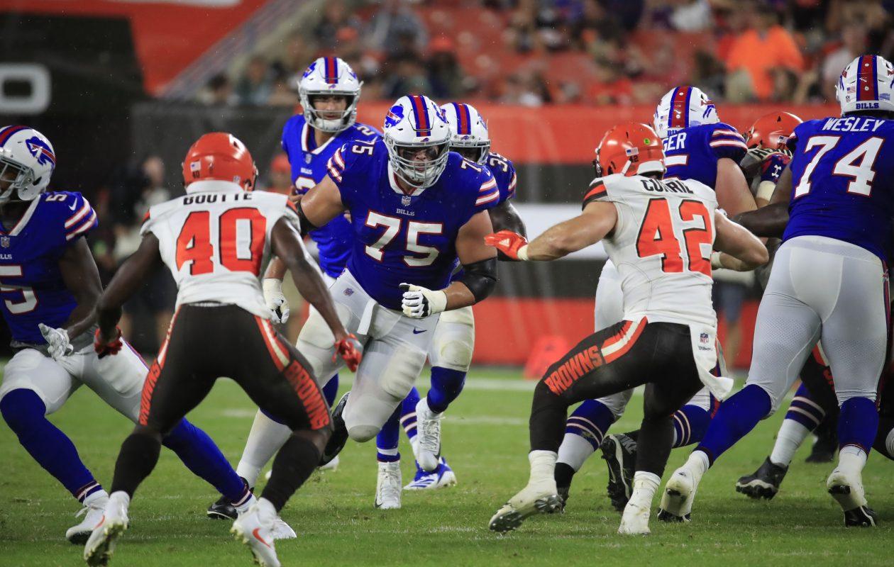Buffalo Bills lineman Wyatt Teller (#75) blocks the Cleveland Browns during fourth quarter action at FirstEnergy Stadium on Friday, Aug. 17, 2018. (Harry Scull Jr./ Buffalo News)