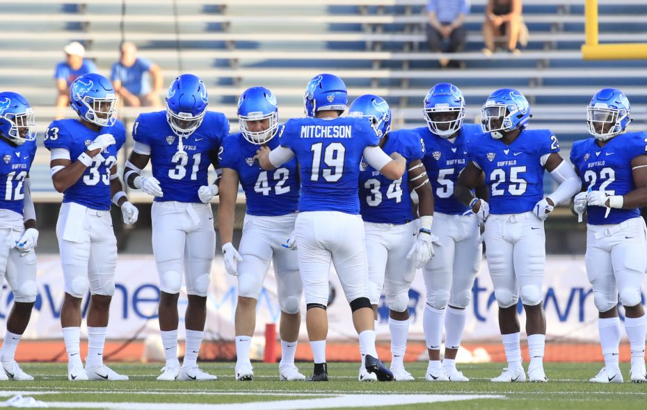 University at Buffalo kicker Adam Mitcheson lines up his kicking team prior to kicking to Delaware State during first half action at UB Stadium. (Harry Scull Jr./News file photo)