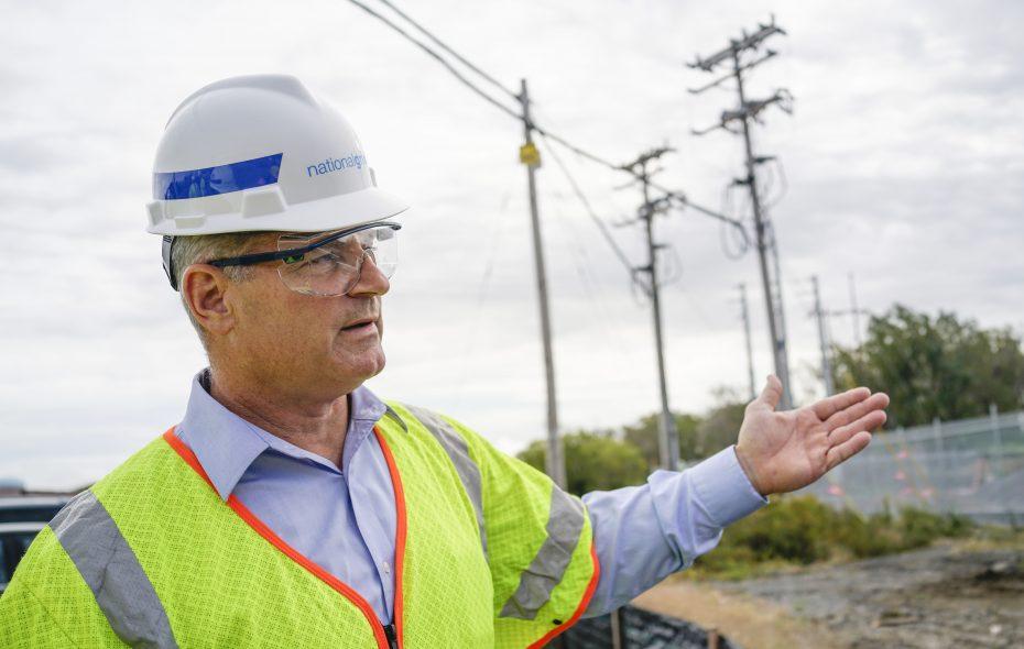 National Grid New York President John Bruckner looks over construction of a new substation on Ohio Street designed to accommodate growing power needs in the region. (Derek Gee/Buffalo News)
