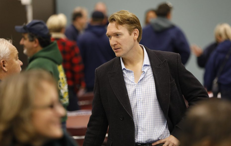 Democrat Nate McMurray, who was elected Grand Island supervisor in 2015, mingles with political volunteers during his congressional campaign in October. (Derek Gee/News file photo)