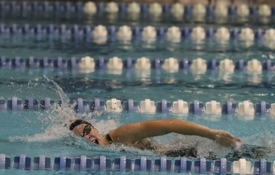 Alexis Triethley of Olean wins the girls 200-yard freestyle event at the Section VI Swimming championships at UB Friday. (James P. McCoy/Buffalo News)