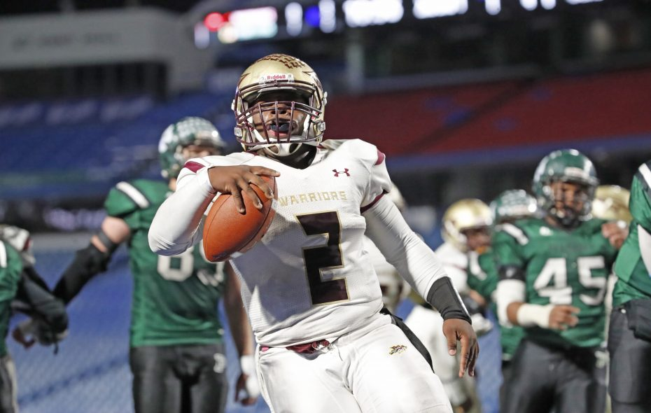 Cheektowaga quarterback Keshone Beal scores the game- winning touchdown against Pioneer during the second half of the Section VI Class B Championship at New Era Field Friday (Harry Scull Jr./Buffalo News)