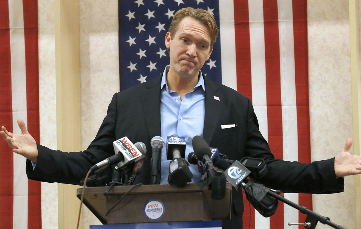 Congressional candidate Nate McMurray displays his frustration during his  concession speech at his campaign headquarters at Town Hall Plaza on South Park Avenue in Hamburg on Wednesday, Nov. 7, 2018. (Robert Kirkham/Buffalo News)