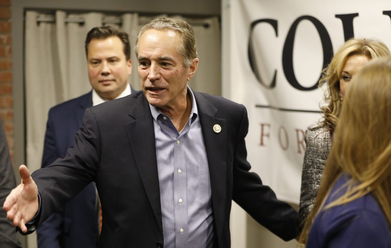 Rep. Chris Collins celebrates his re-election at the Planing Mill. (Derek Gee/Buffalo News)