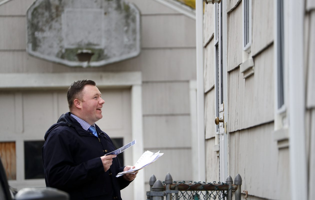Pat Burke went door to door campaigning on Election Day, and won the 142nd Assembly seat.  (Mark Mulville/Buffalo News)