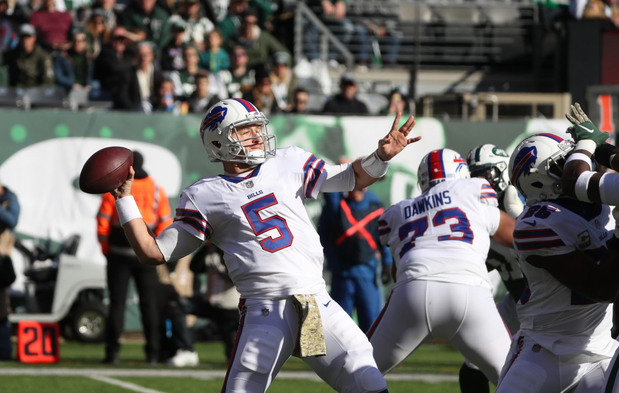 Bills quarterback Matt Barkley throws a long pass on the first play of the game on Nov. 11. (James P. McCoy/News file photo)