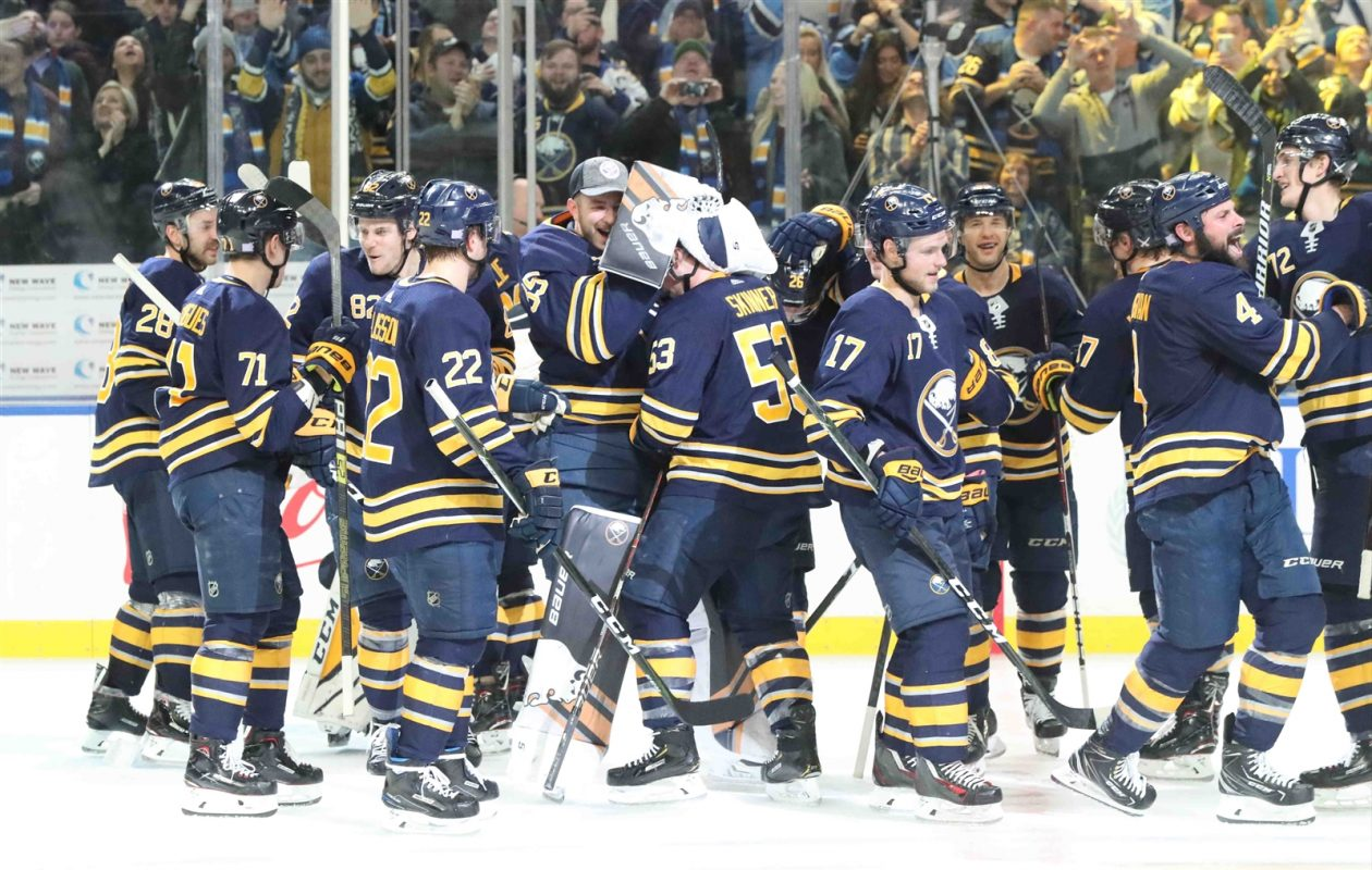 The Sabres celebrate Jeff Skinner's overtime goal against San Jose on Nov. 27 that produced a 10th straight win. (James P. McCoy/Buffalo News)