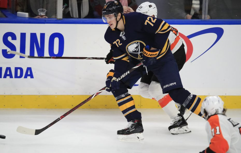 Buffalo Sabres winger Tage Thompson skates with the puck against the Philadelphia Flyers during the second period at the KeyBank Center on Wednesday, Nov. 21, 2018. (Harry Scull Jr./ Buffalo News)