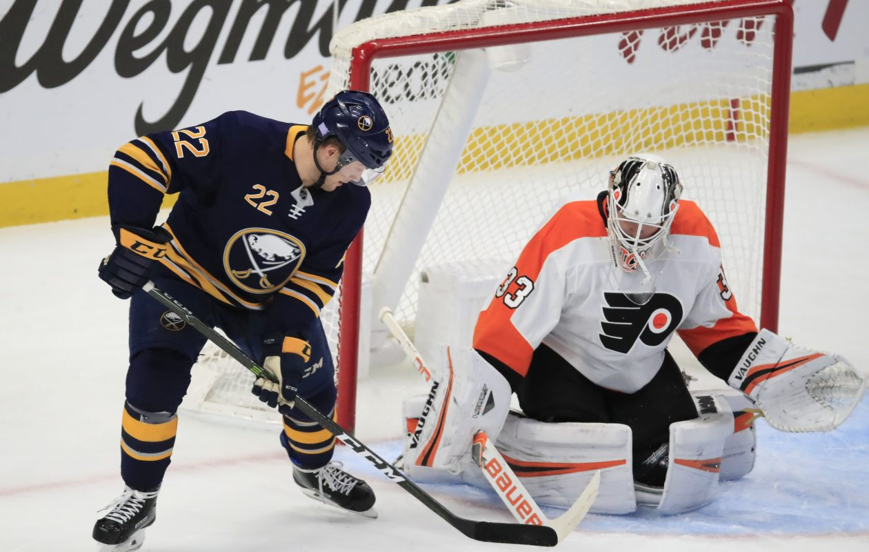 Buffalo Sabres forward Johan Larsson is stopped by Philadelphia Flyers goaltender Calvin Pickard during the second period at the KeyBank Center on Wednesday, Nov. 21, 2018. (Harry Scull Jr./ Buffalo News)