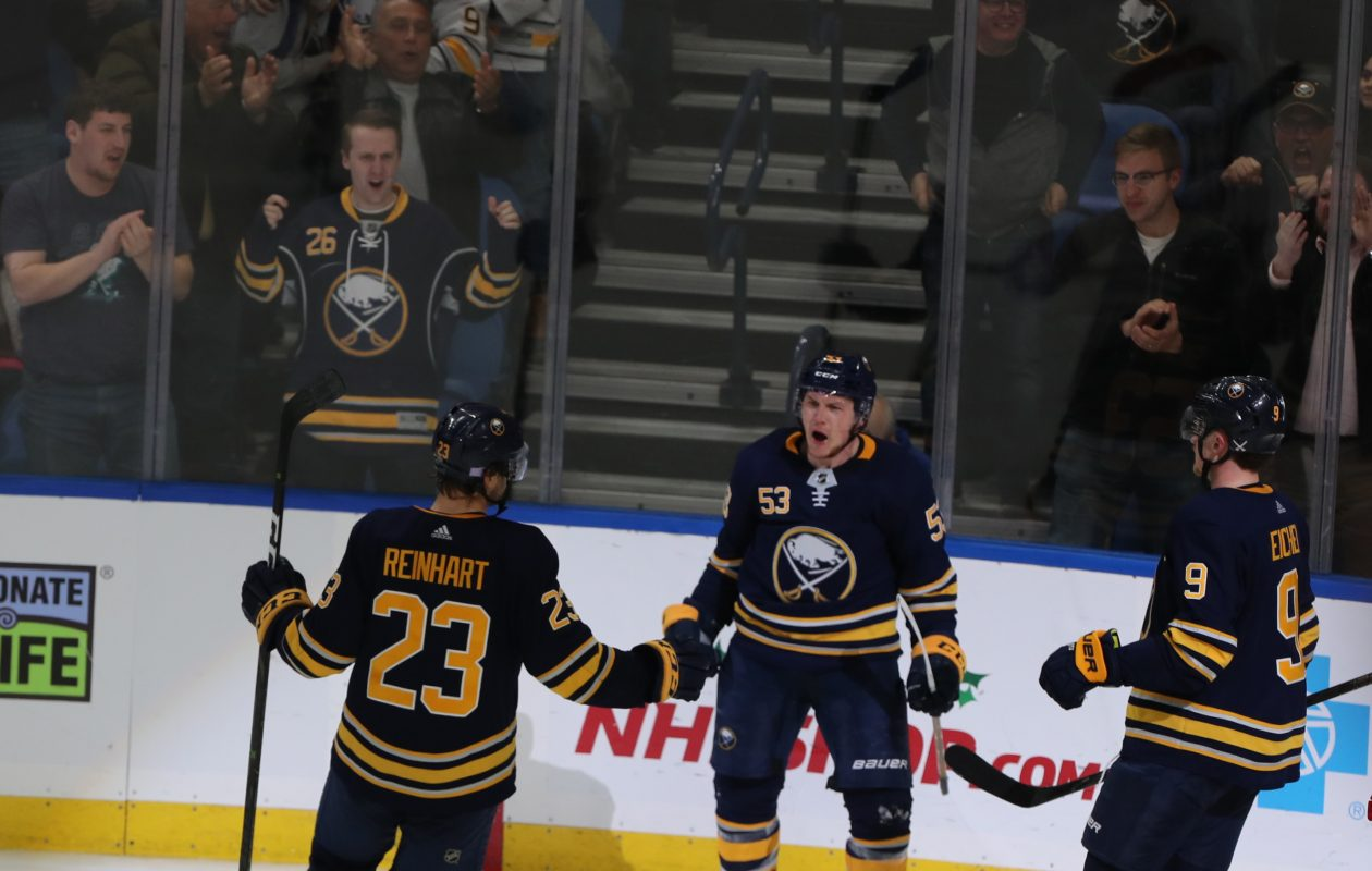 Jeff Skinner (53) has celebrated 20 goals in his first season with the Sabres (John Hiickey/Buffalo News)