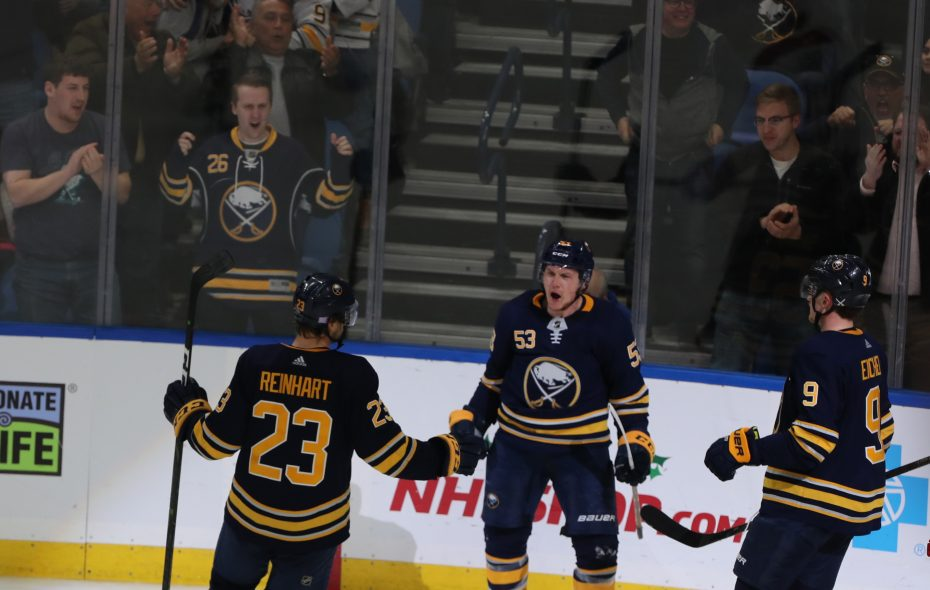 The Sabres hope to see a lot more goal celebrations from Jeff Skinner (53) in future years (John Hickey/News file photo).