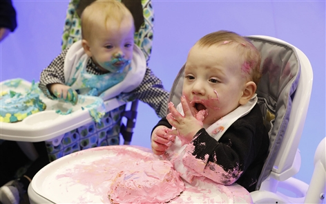 Babies who were born when Oishei Children's Hospital opened one year ago today, celebrated their first birthdays - and the one year anniversary of the hospital - with a 'cake smash.'
