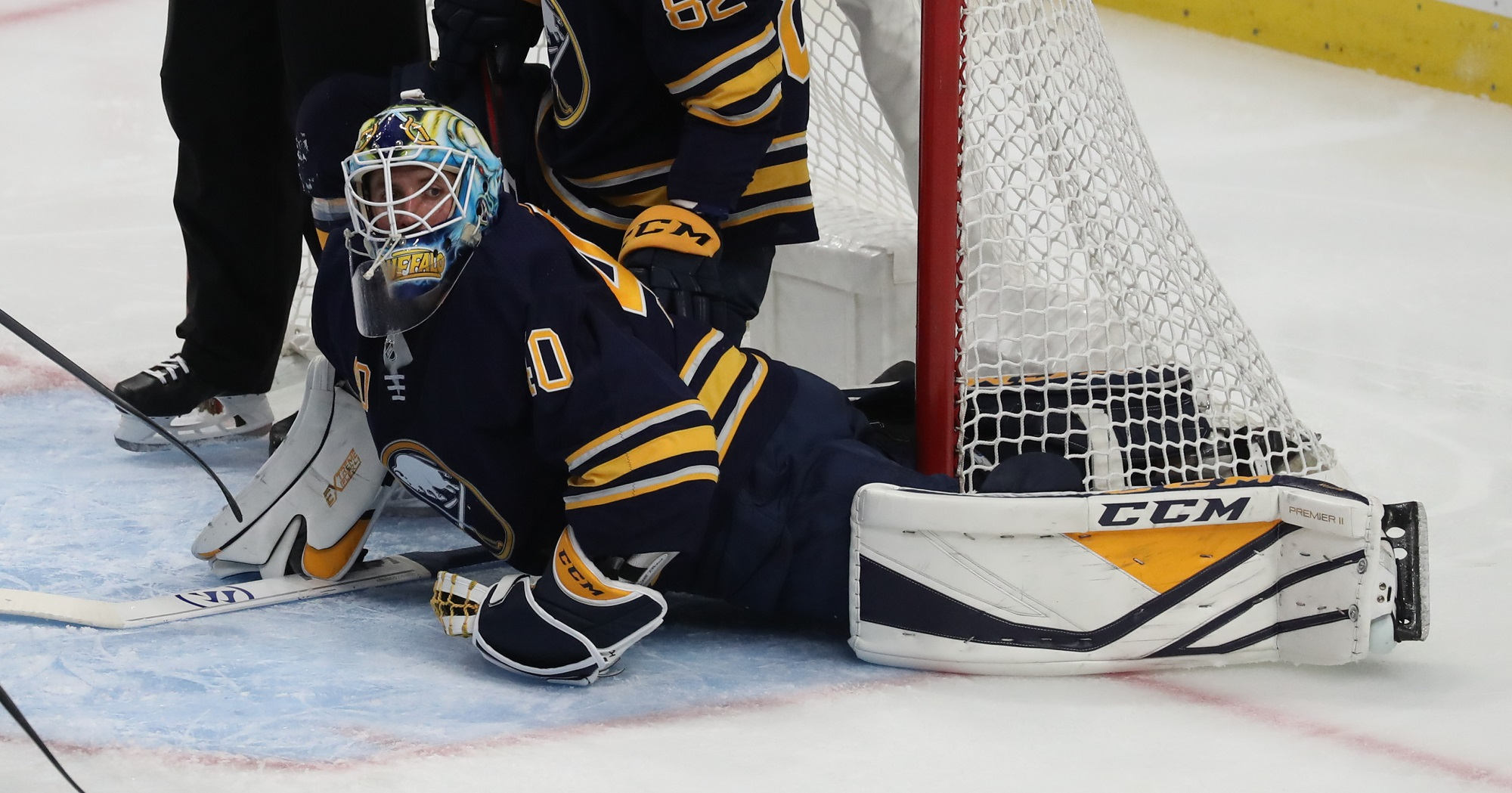 One of Sabres goalie Carter Hutton's 29 saves in Buffalo's 2-1 win over Tampa Bay. (James P. McCoy/Buffalo News)