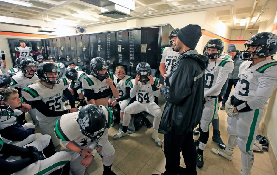 Clymer/Sherman/Panama gathers in the locker room prior to their recent win over Tioga. (Harry Scull Jr./News file photo)