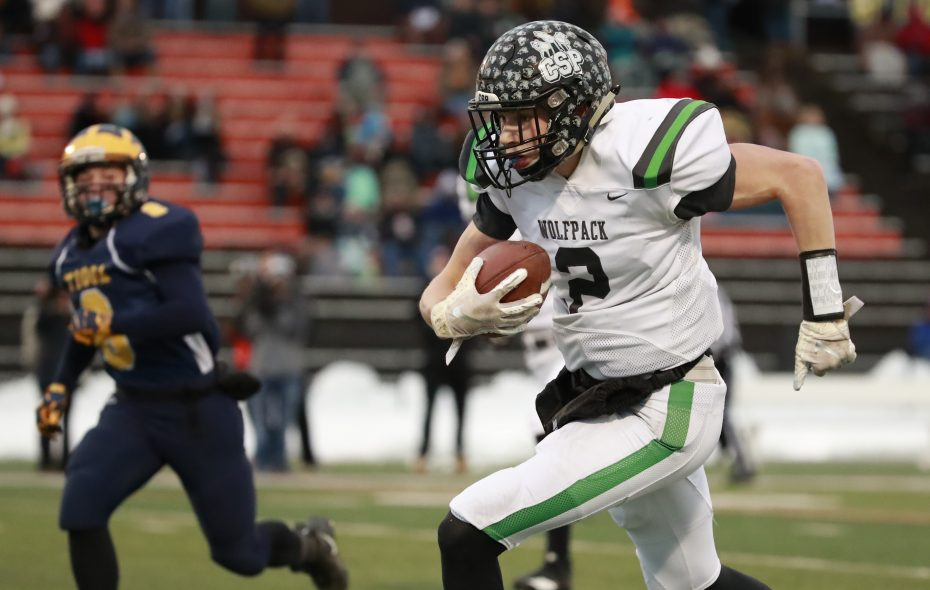 Clymer/Sherman/Panama Wolfpack receiver Cameron Barmore scored on touchdown catches of 50 and 64 yards during CSP's Class D semifinal win over Tioga last week at Ty Cobb Stadium at Union-Endicott High School. (Harry Scull Jr./ Buffalo News)