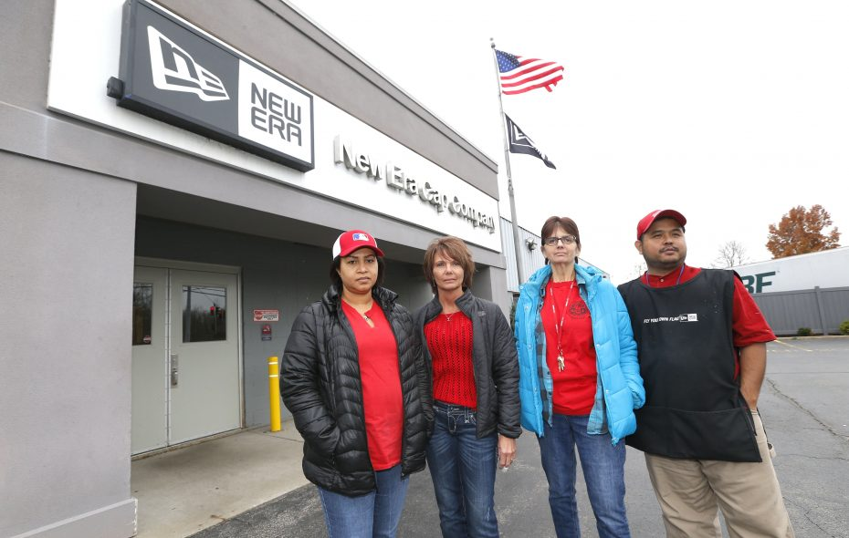 Union officials at New Era Cap, from left, Nga Ta, vice president; Candace Bobik, secretary; Teri Buczkowski, president; and Barnabas Thuan, treasurer reflected last week on their heartbreak at the planned closing of the Derby plant. (Robert Kirkham/Buffalo News)
