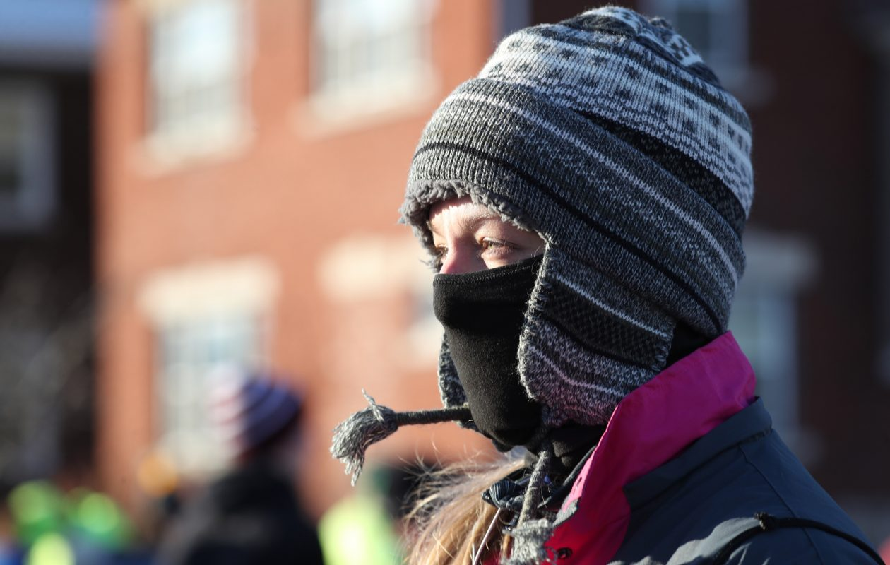Andrea Sciandra of West Seneca is bundled up on Buffalo's chilliest Thanksgiving Day on record. (Sharon Cantillon/Buffalo News)