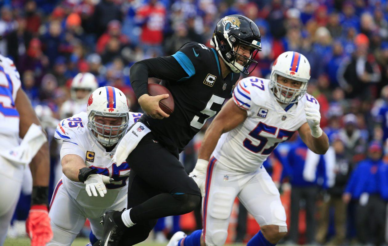 Bills defensive lineman Kyle Williams tackles Jaguars quarterback Blake Bortles during the third quarter (Harry Scull Jr./ Buffalo News)